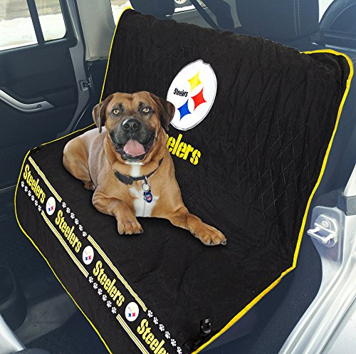 NFL CAR SEAT COVER - PITTSBURGH STEELERS Waterproof, Non-slip BEST Football LICENSED PET SEAT cover for DOGS & CATS.