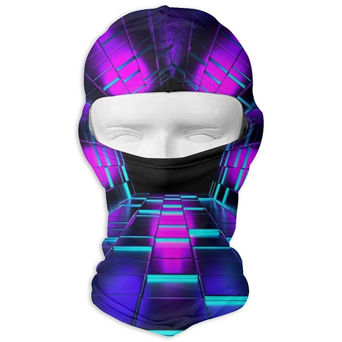 RUSLAN Full Face Mask Hood Sun-Protective Breathable Head Neck Cover Hood for Outdoor Shooting Cyling Motorcycle Sport Strap Printed with Cube