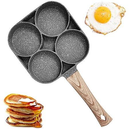 Sartén Para Huevos de 4 Tazas, Sartén Antiadherente de Aleación de Aluminio para Panqueques, Sartén de Carne Molida Frita Para Parrillas de Gas e ...