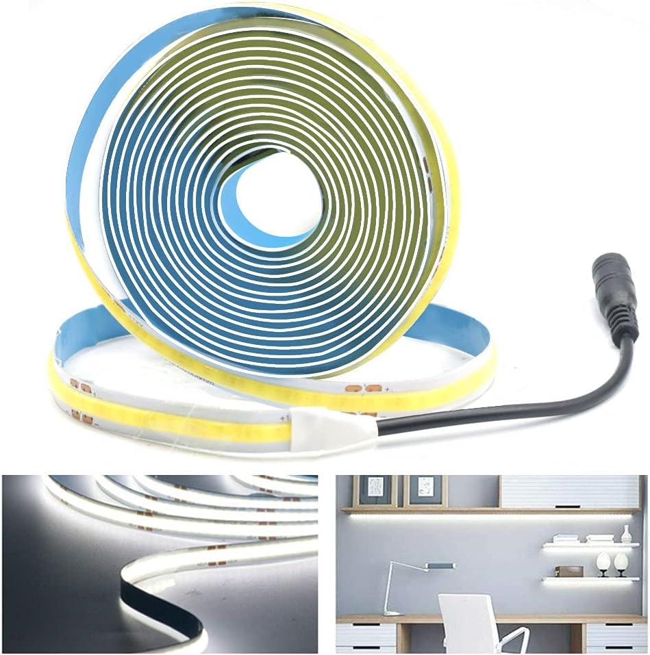 Arote COB LED Strip 24 V flexible LED tira de alta densidad 2 m 320 LEDs/m 640 LEDs blanco frío 6000 K regulable LED banda IP20 para decoración interior TV fondo dormitorio LED Strip