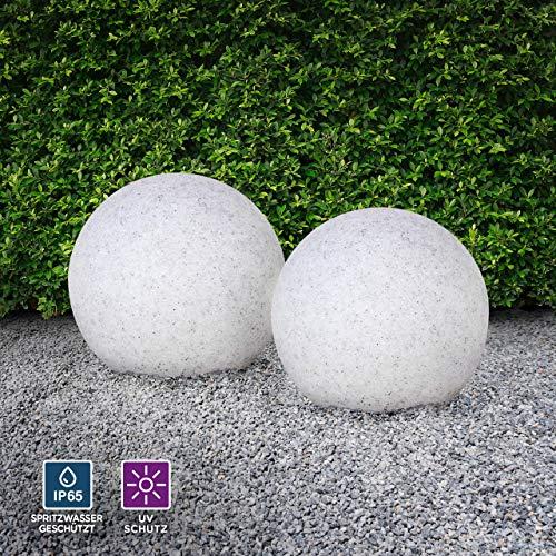 Kugelleuchte aussen, Gartenlampe 2er Set Ø30cm, Stein-Optik | Außenleuchte spritzwassergeschützt | Gartenleuchte, E27-Fassung | Kugellampe mit Erdspieß