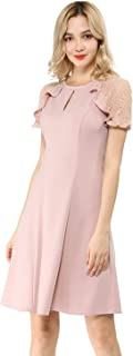 Women's Ruffle Keyhole Lace Sleeve Fit and Flare Dress