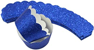 Mybbshower Royal Blue Standard Size Cupcake Liners for Baby Shower Birthday Treat Holders Wedding Bridal Shower Pack of 24
