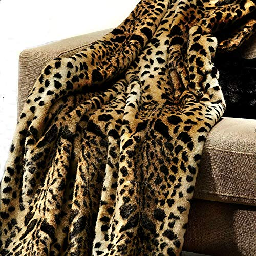 Brown Spotted Leopard Throw Blanket, Luxury Fur, Minky Cuddle Lining, (King Size)