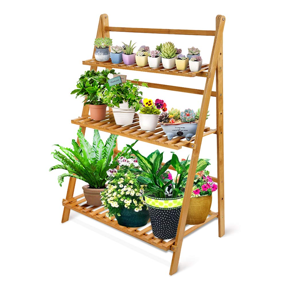 Ogori Bamboo Wood Ladder Plant Stand 3 Tier Foldable Organizer Flower Display Shelf Rack For Home Patio Lawn Garden Balcony Holder 3 Tier Large Home Improvement