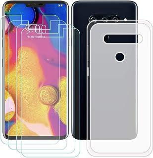 YZKJ Fodral för LG V40 ThinQ Cover Semi-Trasparent silikon skyddsfodral TPU skal skal skal 4 stycken pansarglas skärmskydd...