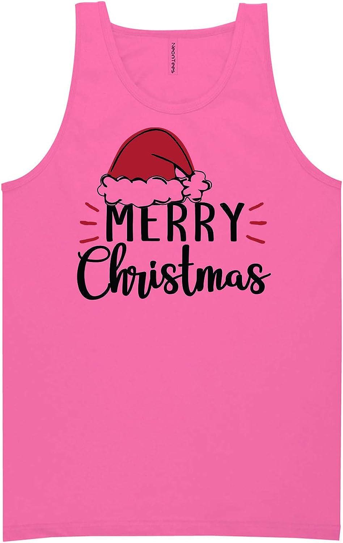 zerogravitee Merry Christmas Hat Neon Pink Tank Top - XX-Large