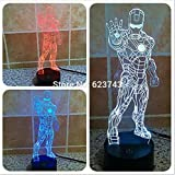 Piece Avengers iron superhero toys 3D LED Night Light USB Table Lamp Kids birthday Gift Bedside home...