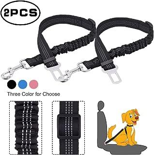 Y YOOMALL Dog Seat Belt, 2 Pack Reflective Adjustable Pet Safety Seat Belts, Nylon Bungee Car Leash for Pet Dog Cat, Dog Seatbelt for Vehicle