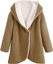 Women Winter Curved Hem Longline Faux Fur Sherpa Fleece Hoodie Coat