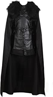 VOSTE Jon Snow Costume Black PU Jacket Full Outfits with Gloves for Men