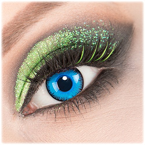 Farbige blaue 'Alper' Kontaktlinsen 1 Paar Crazy Fun Kontaktlinsen mit Kombilösung (60ml) + Behälter zu Fasching Karneval Halloween - Topqualität von 'Giftauge' ohne Stärke