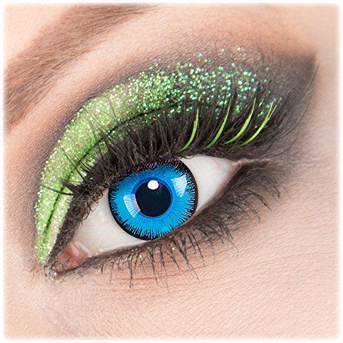 Farbige weiße 'Alper' Kontaktlinsen 1 Paar Crazy Fun Kontaktlinsen mit Behälter zu Fasching Karneval Halloween - Topqualität von 'Giftauge' mit Stärke -6,00
