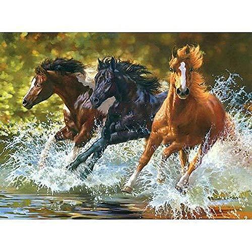 QLCUY Schilderen op nummers, drie paarden, de lopen, decoratie, voor thuis, geschenken, olieverfschilderij, doe-het-zelf borstels en schilderijen, acryl, voor beginners (zonder lijst, 40 x 50 cm)