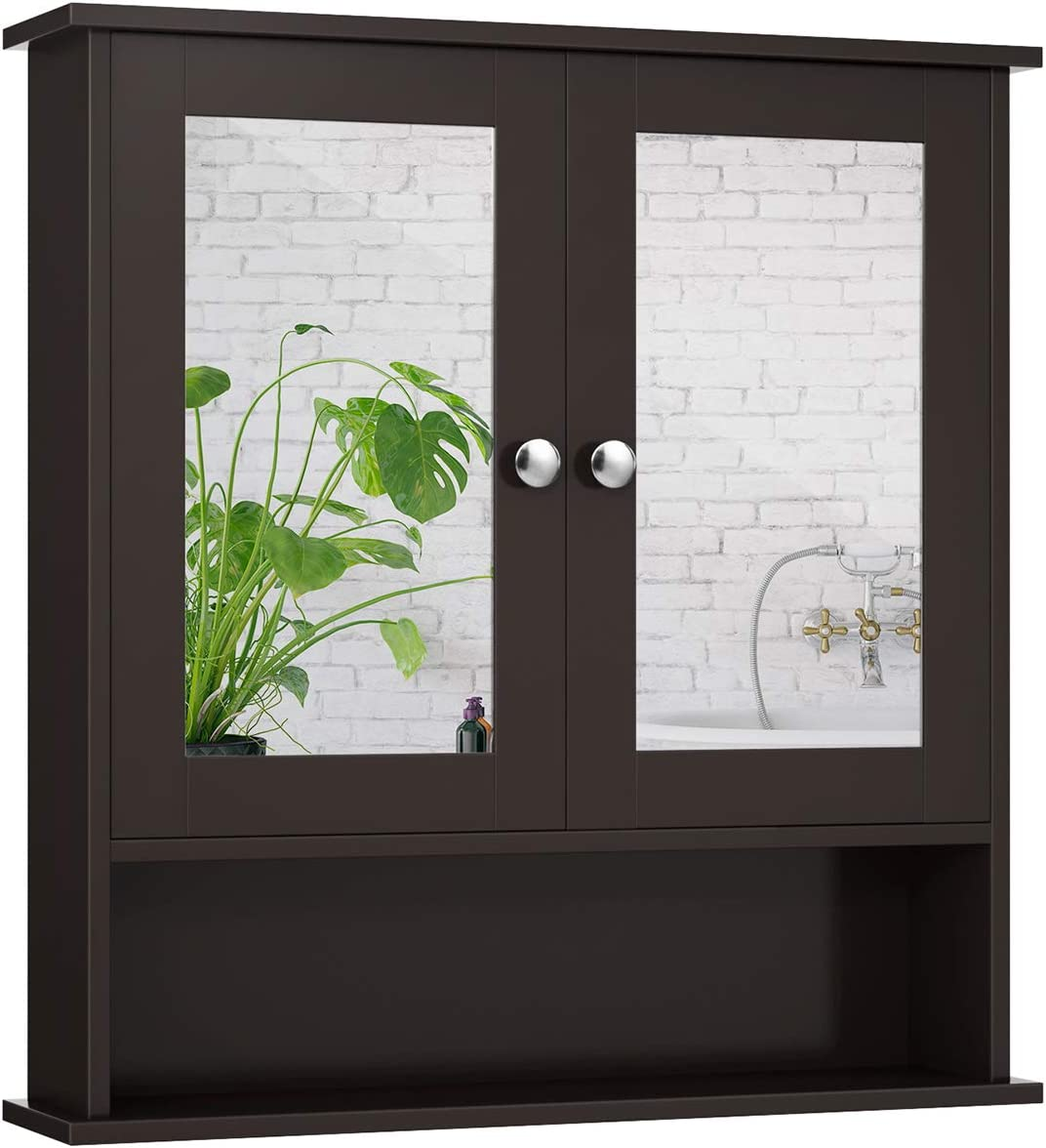 GOFLAME Two-Door Wall Cabinet w Double Storage free O Wooden Mirrors Super sale period limited