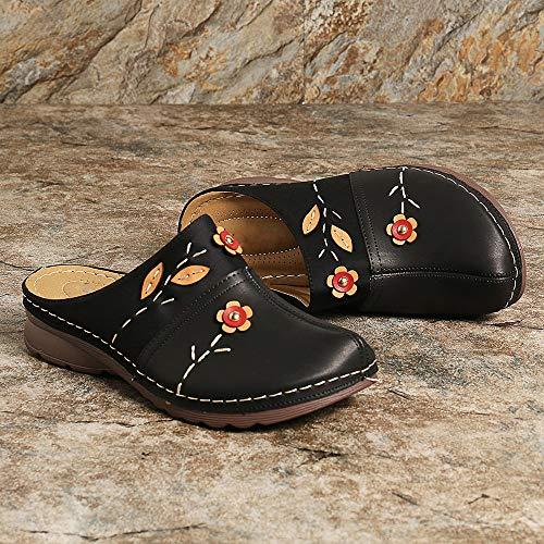 OshoeQ Zuecos para Mujer Cuero Verano Loafer Tacón Bajo Mules Planos Zapatos Zapatillas de Playa Antideslizantes Zapatillas de Jardín,Negro,38