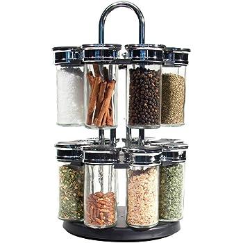 per spezie girevoli Portaspezie con 6 barattoli in vetro Nearbyeu per armadio da cucina e piano di lavoro
