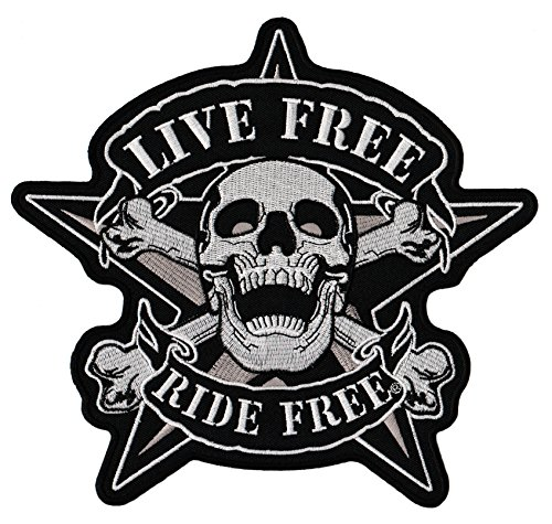Live Free Ride Free Totenkopf Tattoo Backpatch Rückenaufnäher XXL 22 x 21 cm