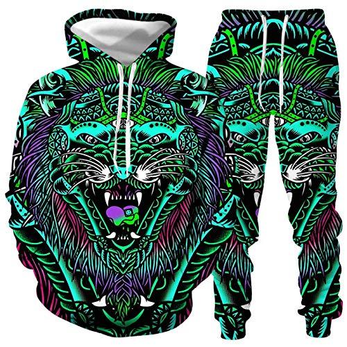 DREAMING-Animal Abstract tiger 3D impresión digital suéter con capucha de manga larga + pantalones casuales trajes para hombres y mujeres M