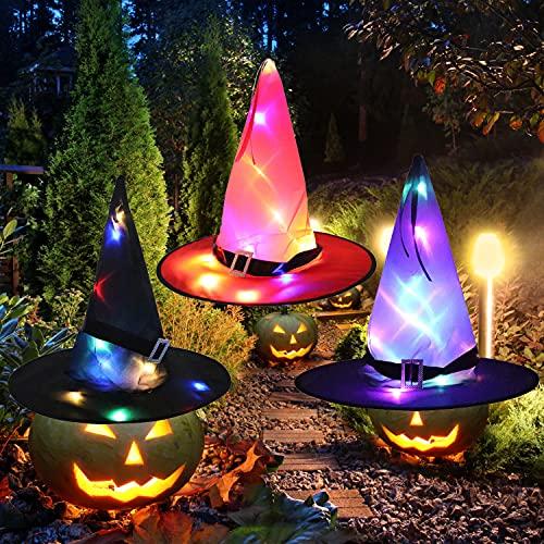 Faffooz Sombrero De Bruja 3 piezas sombrero de mago de Halloween sombrero de bruja para adultos disfraz de bruja Diadema de Bruja Halloween para Fiesta de Halloween, Fiesta de Lujo