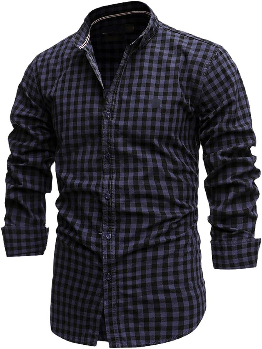 Spring 100% Pure Cotton Plaid Shirt Casual Slim Men's Shirt Long-Sleeved Social Shirt Formal Shirt
