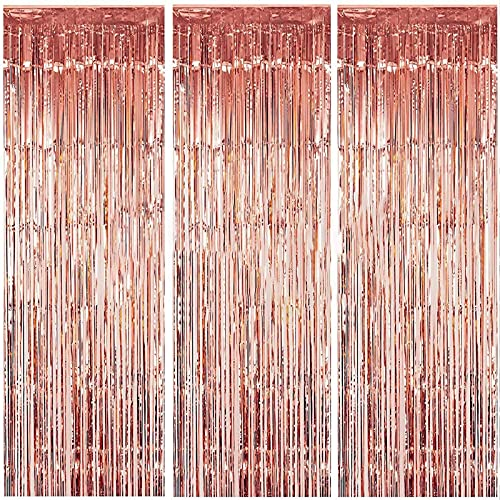 3 Packs 3.2ft x 6.6ft Rose Gold Metallic Tinsel Foil Fringe Curtains Photo Booth Props for Birthday Wedding Engagement Bridal Shower Baby Shower Bachelorette Holiday Celebration Party Decorations