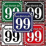 """3mm Hausnummernschild Hausnummer Straßenname in""""Emaille Design"""" Alt optl. mit Abstandhalter"""