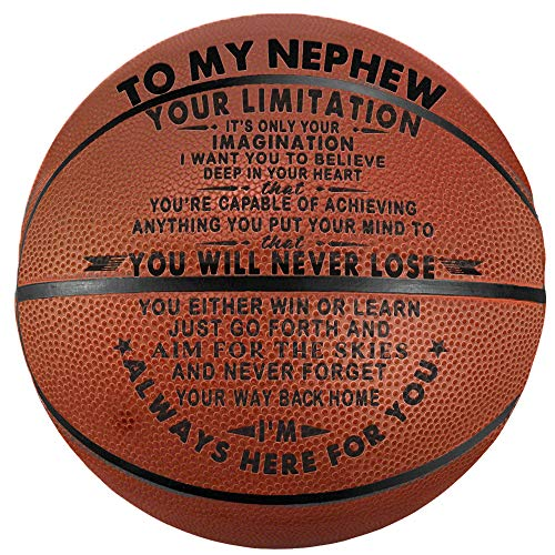 Tree Life Engraved Basketball Gifts for My Nephew - Your Limitation It's Only Your Imagination - Inspirational Message Basketball Gifts Indoor/Outdoor Boys Personalized Basketball 29.5 Inch