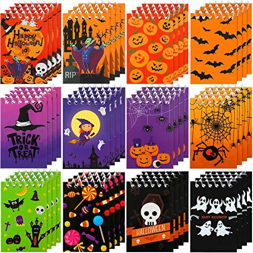 Outus 48 Piezas Cuaderno de Espiral Cuadernos de Halloween Calabaza Spiderweb Bat Vampire Lápices de Halloween para Regalo de Fiesta de Truco o Trato para Niños , 12 Estilos