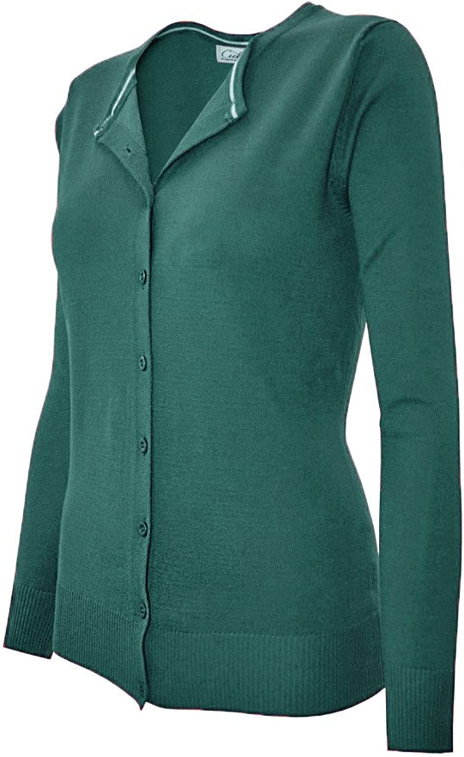 CIELO Women's Solid Basic Stretch Button Down Sweater Cardigan