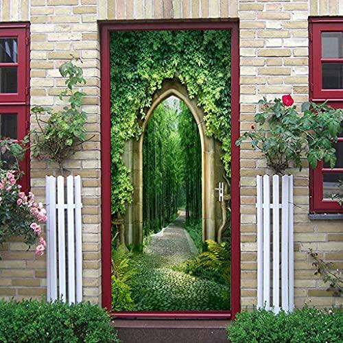 BARFPY 3D Etiqueta de Puerta Paisaje de bosque de bambú verde para la puerta de renovación del arte mural de puerta vinilo calcomanía impermeable pared de la sala de estar Cocina dormitorio pegatina 7