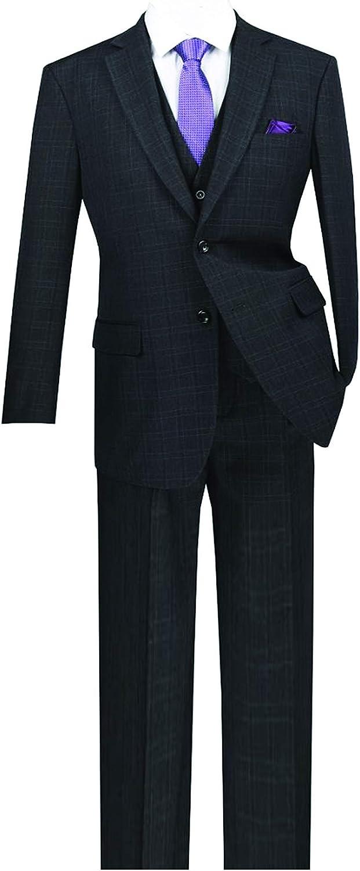 VINCI Men's Window Pane 2 Button Single Breasted Classic Fit Wool Feel Suit W/Vest V2RW-15