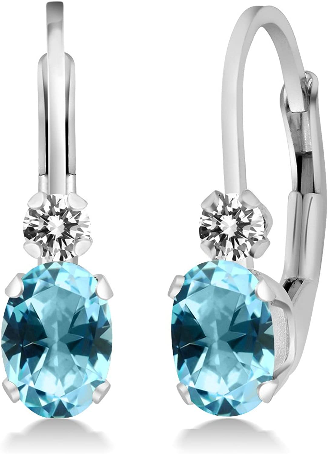 1.07 Ct 925 Sterling Silver Earrings Made With Oval Ice bluee Swarovski Topaz