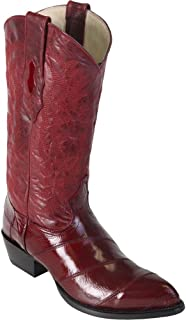 Genuine EEL Skin Burgundy J-Toe Los Altos Men's Western Cowboy Boot 990806