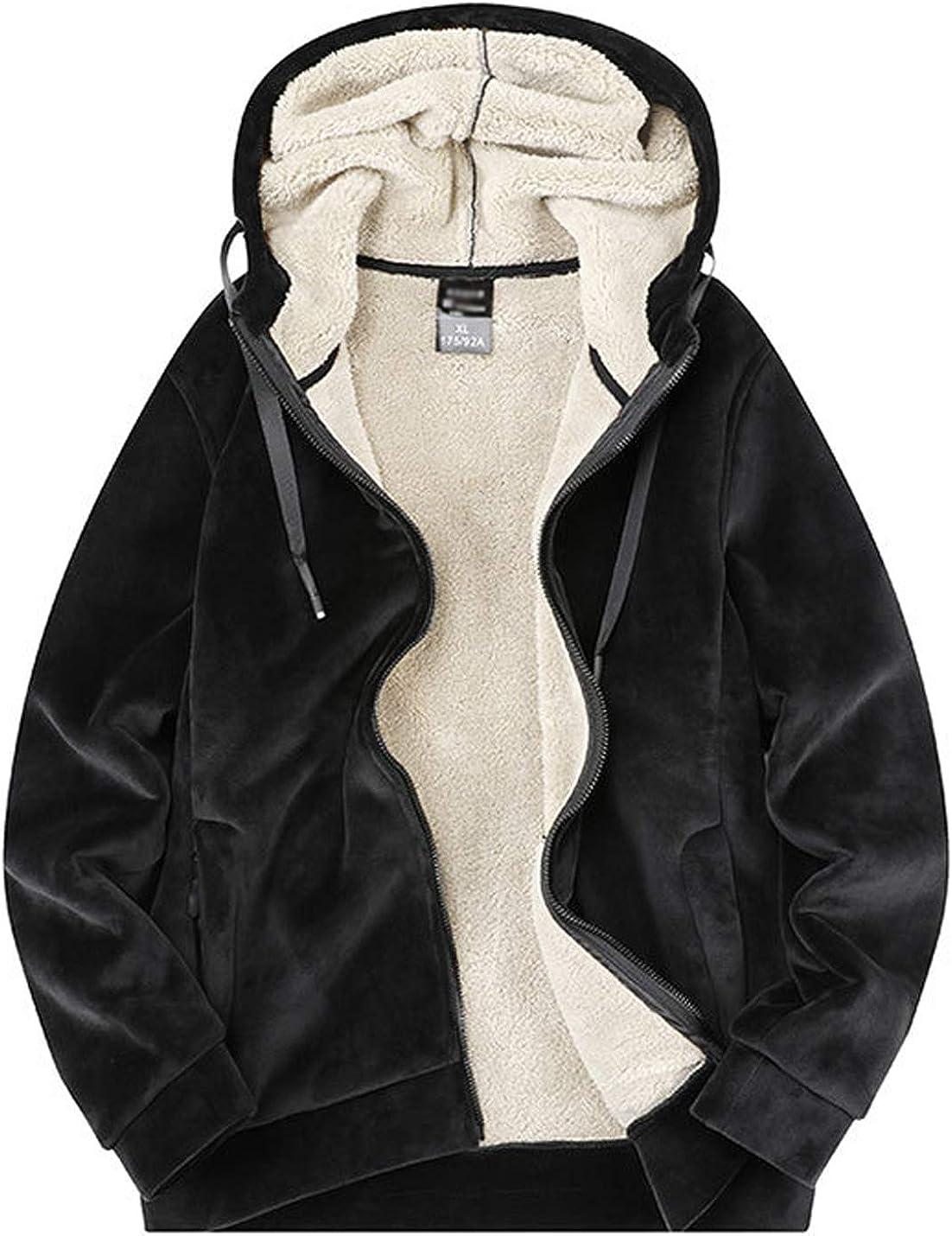 Yimoon Men's Zip Up Sherpa Fleece Hooded Outerwear Sweatshirt Coat with Drawstring
