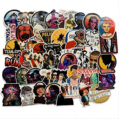 JUNZE Stranger Things Stickers Pack Anime Pegatina For Children For Laptop Fridge Phone Skateboard Suitcase Funny Sticker 50Pcs