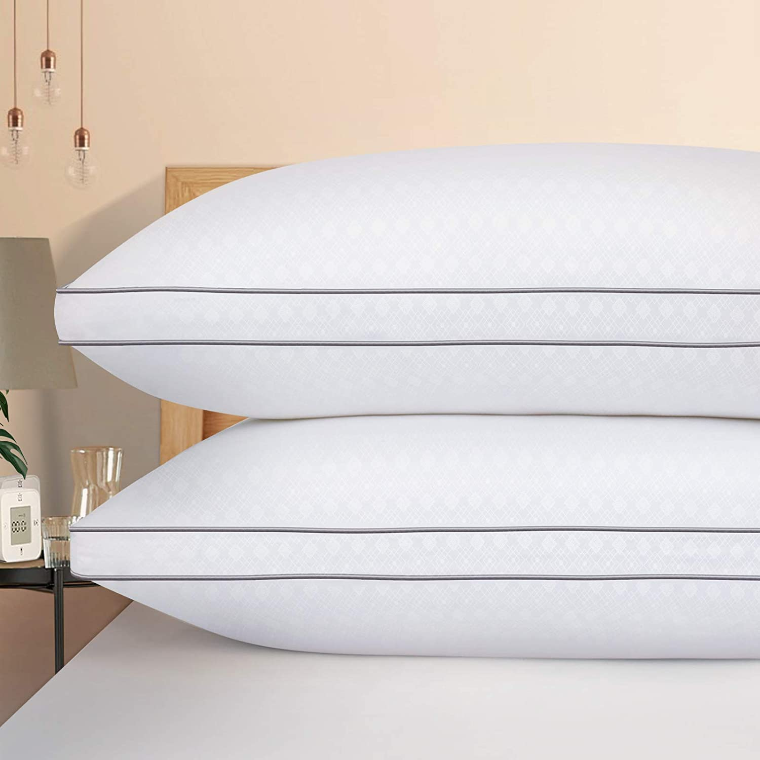 HOTOZON Bed Pillows for Sleeping 2 Pack Plush Fiber Fill Soft and Supportive Gusseted Pillow for Back Side Sleepers Down Alternative Hypoallergenic Pillow Queen Pillow Hotel Quality