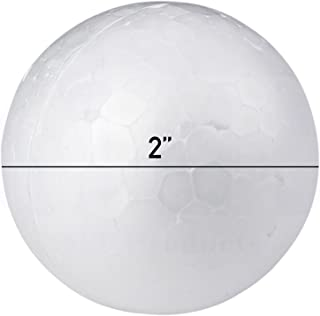 Smooth White Craft Foam Polystyrene Round Balls by MT Products (2 Inch) (24 Pieces)