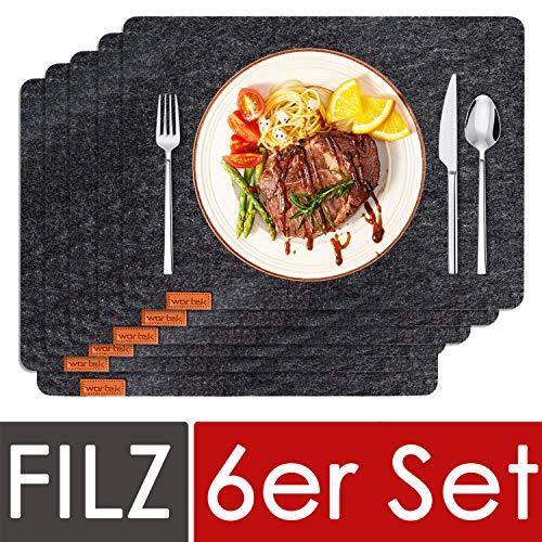 wortek Filz Platzset Anthrazit - Edles Deko Tischset aus Filz abwischbar 44x32cm - abwaschbare Platzdeckchen für Esstisch - Tischunterlage Schwarz - Dunkelgraue Tischdecken 6er Set