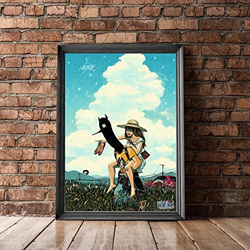 SIRIUSART Cuadro de Arte de Pared Oyasumi Punpun (Buenas Noches Punpun) Lienzo póster decoración de la Pintura de la Pared del hogar 60x90cm