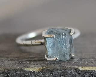 Raw Aquamarine Gemstone Sterling Silver Ring size 7