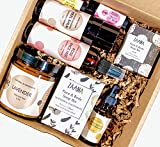 Spa Gift Set - Natural Handmade Relaxing Gift Box for Women, Mom, Sister and Friend, Bath Basket Includes Soap Bar, Rose Facial Mist, Face Serum, Lip Balm, Lavender Soy Candle and Heel Balm by ZAAINA