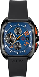 Rebel-AC Swiss Made Automatic Self Winding Chronograph-Analog Display Casual Rectangular Watch for Men-Stainless Steel w/Date Calendar - 300 feet Waterproof-Limited Edition to 500 Pieces - Cobalt