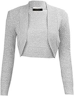 Ladies Girls Lurex Metallic Ribbed Collar Cropped Shrug US Size 6-24