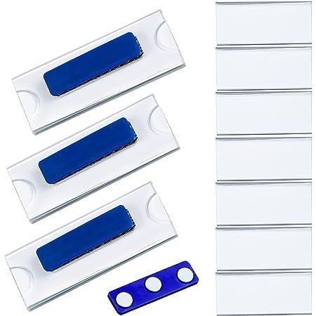 10pcs Badges Porte Nom Porte Badge Support d'affichage en Acrylique Transparent et Étiquette Imprimable,Étiquette de Nom d'aimant