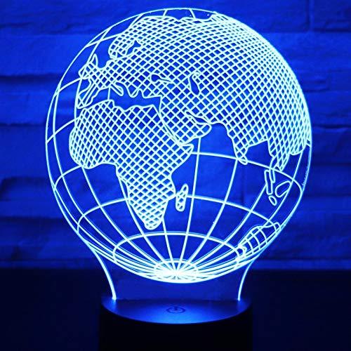 Sanzangtang Led-nachtlampje, 3D-weergave, afstandsbediening met kleuren, nachtlampje, Europese kaart met decoratieve verlichting voor het huis, visuele illusie