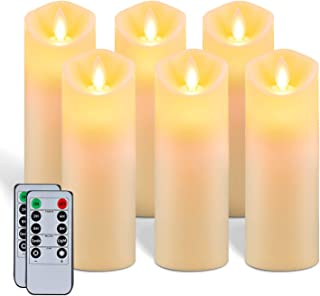 """5plots 7""""x 2.2"""" Flickering Flameless Candles, Moving Flame, Battery Operated LED Pillar Candles with Timers and Remote Con..."""