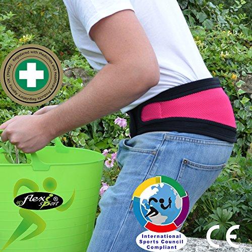 Lendengurt Rückenbandage mit Stabilisierungsstäben, Rückenstütze für Herren und Damen, Rückenstützgürtel, Bauchweggürtel, Stützgürtel Rücken (XL:Hüfte110-130cm, Rosa)