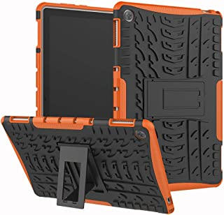 Case Huawei Mediapad M5 lite 10.1 360° Full Body[with Tempered Glass Screen Protector] Shockproof Protection Phone Cover Protective Skin Case for Huawei Mediapad M5 lite 10.1 (Orange)