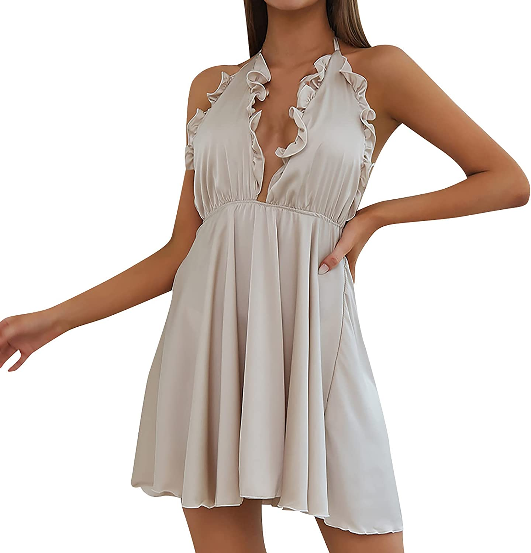 Women's Summer Sexy Dress Solid Color V-Neck Ruffle Lace Halter High Waist Party Dress Sleeveless Mini Dress